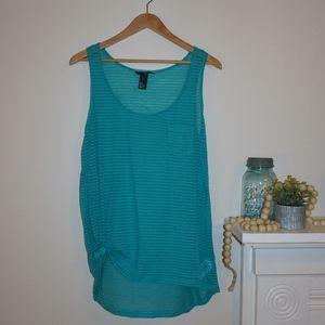 H&M Sheer Tank Tunic Blue Green